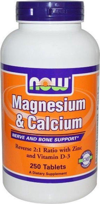 Bol Com Magnesium Calcium 2 1 Met Zink En Vitamine D 250 Tabletten Now Foods