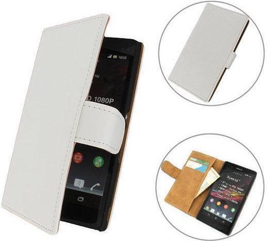 TCC Luxe hoesje Sony Xperia SP Book Case Flip Cover M35H - Wit