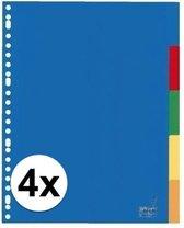 Kunststof tabbladen A4 - 20 stuks - 23 rings/ gaats - gekleurde tabbladen