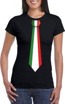 Zwart t-shirt met Italie vlag stropdas dames 2XL