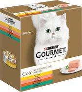 Gourmet Gold Mousse Kip/Zalm/Niertjes/Konijn - Kattenvoer - 48 x 85 g