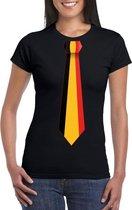Zwart t-shirt met Belgie vlag stropdas dames S