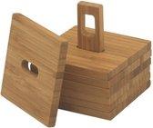 Point-Virgule Bamboo Glasonderzetters - 6 Stuks - Op Houder