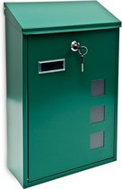relaxdays Brievenbus modern design - Wandmodel gelakt metaal - 25x40 cm - Keuze 4 kleuren. groen