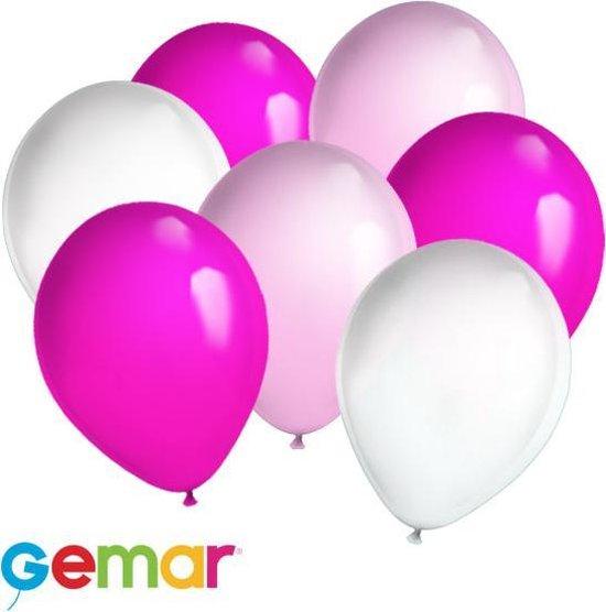 30x ballonnen Roze, Fuchsia en Wit (Ook geschikt voor Helium)