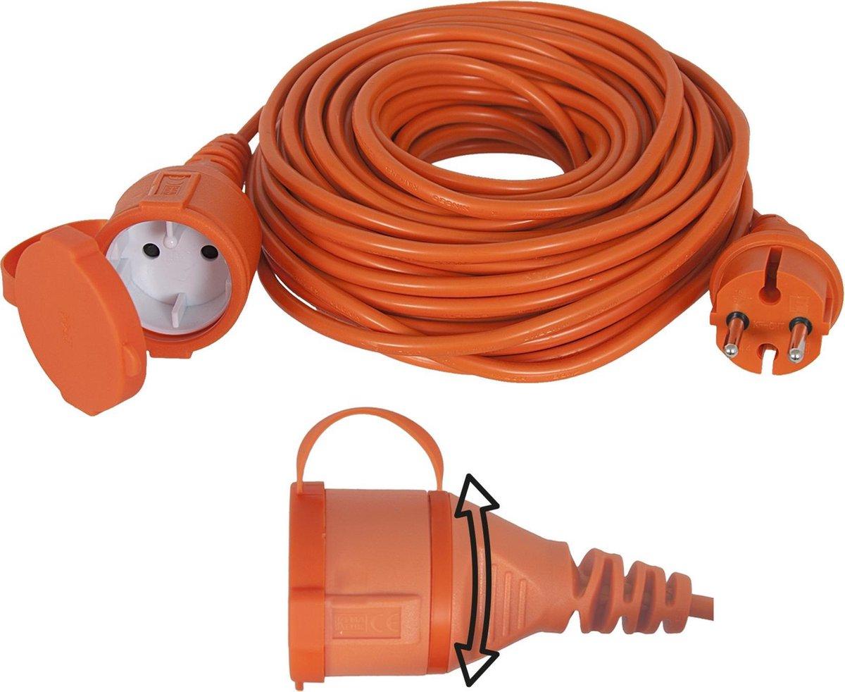 Exin Verlengsnoer - 20 meter -  2 x 1,5mm  - IP44 Spatwaterdicht - Oranje