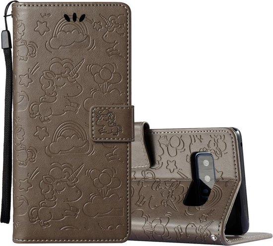 Let op type!! Voor Galaxy Note 8 geperst paard Cloud Print horizontale Flip lederen draagtas met houder & kaartsleuven & portemonnee & Lanyard(Brown)