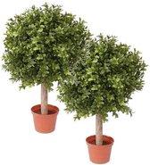 2x Buxus bol kunstplant op stam in pot 35 cm - Kunstplanten/Nepplanten