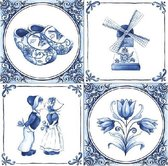 20x Delfts blauw thema servetten 33 x 33 cm - Papieren wegwerp servetjes - Oud Hollandse/molen/klompen/tulpen versieringen/decoraties