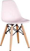 Kinderstoel Kunststof  Houten onderstel - Roze