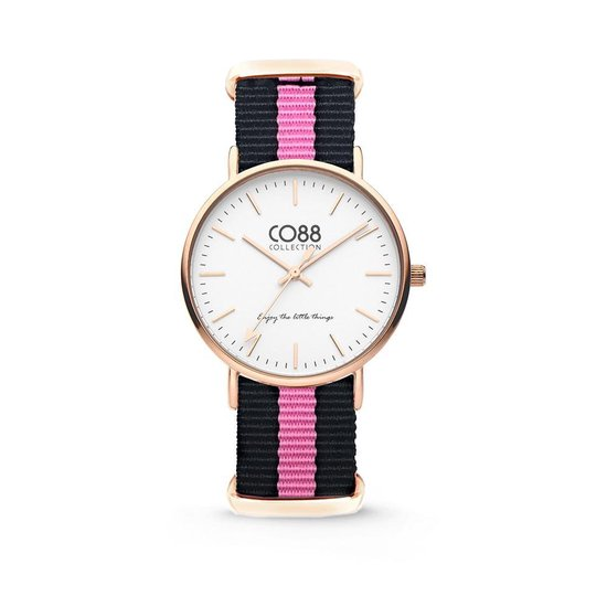 CO88 Collection Watches 8CW 10033 Horloge - Nato Band - Ø 36 mm - Zwart / Roze
