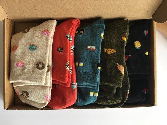 Kleurrijke dames sokken – Set van 5 – Happy Food Socks Giftbox
