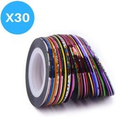 30 Rolletjes Striping Tape - Rolls Multicolor Gemengde Kleuren - Rolls Striping Tape Line Nail Art Decoratie Sticker
