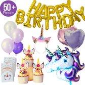 Eenhoorn Feestpakket - 50delige verjaardagset met 2 mega grote eenhoorn ballonnen. Inclusief 4 grote hartjes ballonnen, Happy Birthday tekst banner, goodie bags, cupcake wikkel en glitter haarband