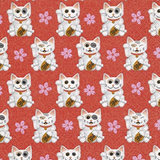 Papier Servetten - Maneki Neko - Lucky Cat - Decoupage - 20 stuks