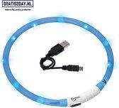 Doggystrap LED Honden/Katten Halsband - Blauw - 20-70 cm - USB oplaadbaar