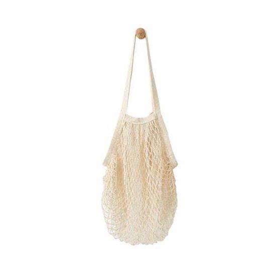 Boodschappentas gehaakt met lang hengsel Naturel Net Tote Bag Katoen