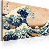Schilderij - De Grote Golf van Kanagawa (Reproductie)