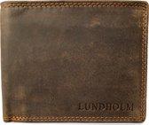 Lundholm Hoogwaardig leren portemonnee heren bruin - billfold model bruin met RFID bescherming - portefeuille heren - cadeau voor man