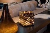 DistinQ Waxinelichthouder - spiegelglas met infinity effect – voor 9 theelichtjes 18x18x21cm - Zwart | Black