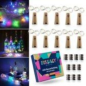 Fissaly® 10 Stuks Gekleurde Led Kurk Flesverlichting Decoratie incl. Batterijen – Feestverlichting & Sfeerlampen - Bottle light Verlichting - Sfeerverlichting met 200 lichtjes in lichtketting voor flessen