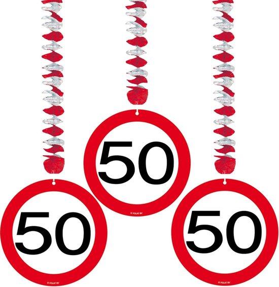 Rotorspiralen 50 jaar verkeersborden 3 stuks - Multi