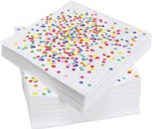 20x Confetti thema feest servetten van papier 33 cm - Kinderfeestje/kinderverjaardag - Feest/verjaardag - Thema feest - Confetti feestversiering - Wegwerp servetjes - Servetten van papier