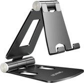 LICHEERS Universele Verstelbare Telefoonhouder - Aluminium - Telefoon standaard bureau - Zwart
