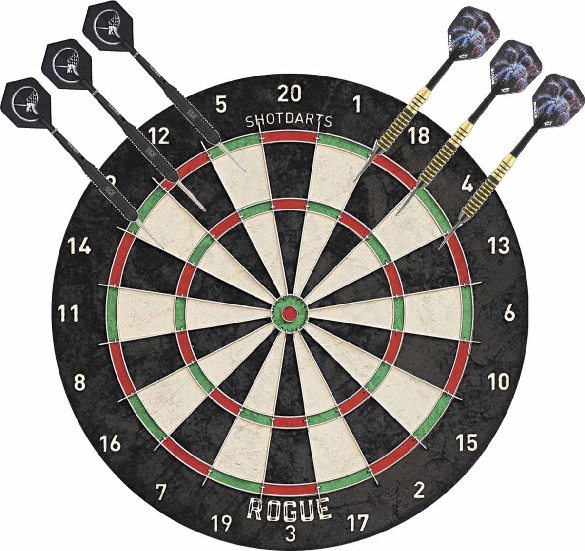 Professioneel dartbord Rogue Bristle incl 2 sets dartpijlen 22 grams - Sportief spelen - Darten/darts - Dartborden voor kinderen en volwassenen.