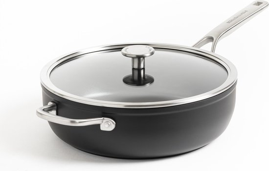 KitchenAid Forged Hardened Aluminium Hapjespan met Deksel - 28cm