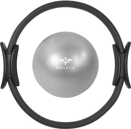 Beeletix Pilates Ring en Mini Pilates Ball Set Inclusief Trainingsschema  - Yoga Ring - Fitness Ring - Magic Circle - Weerstandsring - Zwart - Ø 38cm
