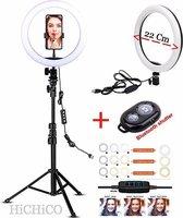 Selfie Ring Light 22 Cm met Tripod Camera Statief 210 CM Inclusief Bluetooth shutter – HiCHiCO