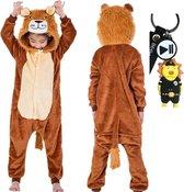 Onesie Leeuw huispak dieren kostuum jumpsuit pyjama kinderen - 116-122 (120) + GRATIS tas/sleutelhanger verkleedkleding