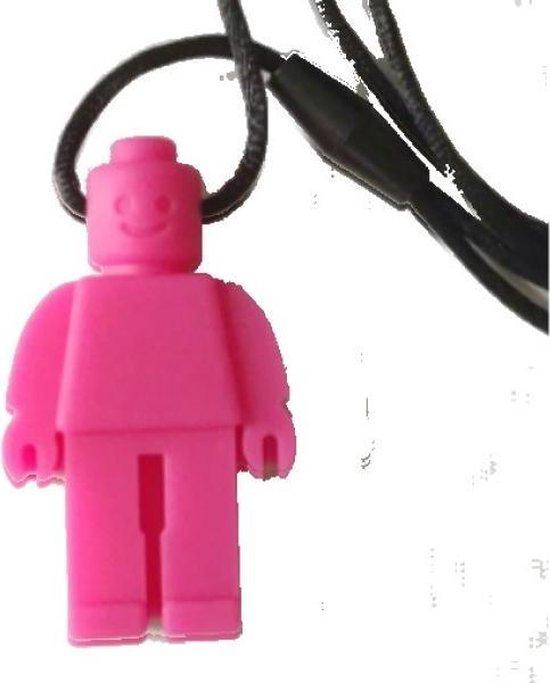 COLLECTORS ITEM - Bijtketting - Kauwketting | Lego design Robot Amalia - Roze