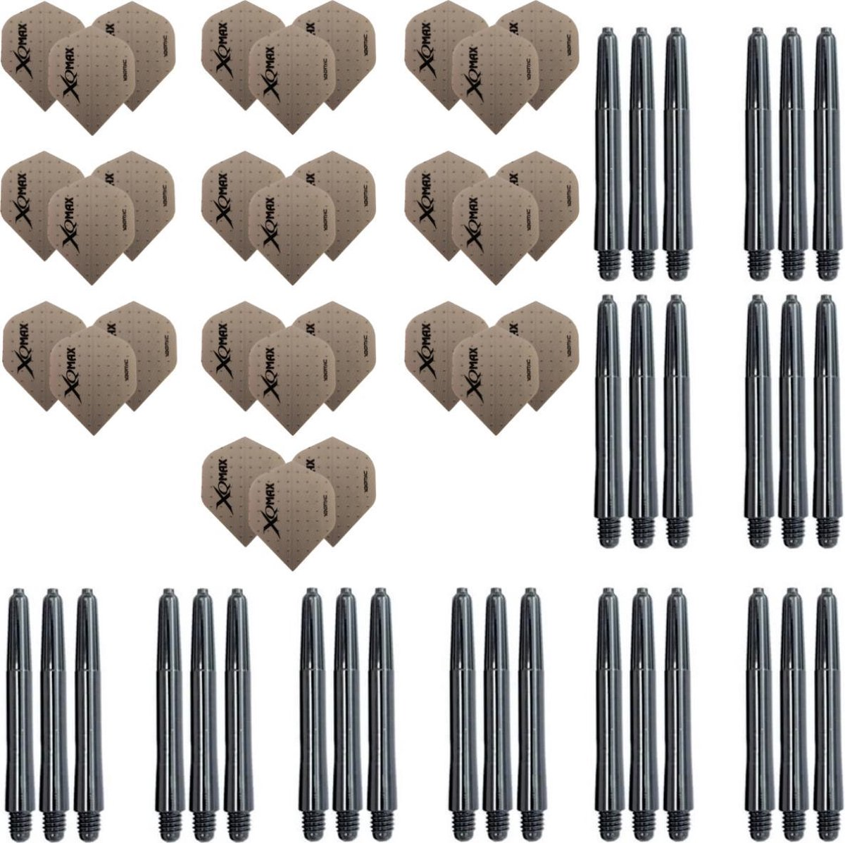 Dragon darts 10 sets (30 stuks) XQMax - darts flights - grey dot - plus 10 sets (30 stuks) medium - darts shafts