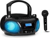 auna Roadie Sing CD speler boombox , FM radio , lichtshow , USB, AUDIO IN en bluetooth , Inclusief kindermicrofoon en sing-a-long functie voor mee- en nazingen
