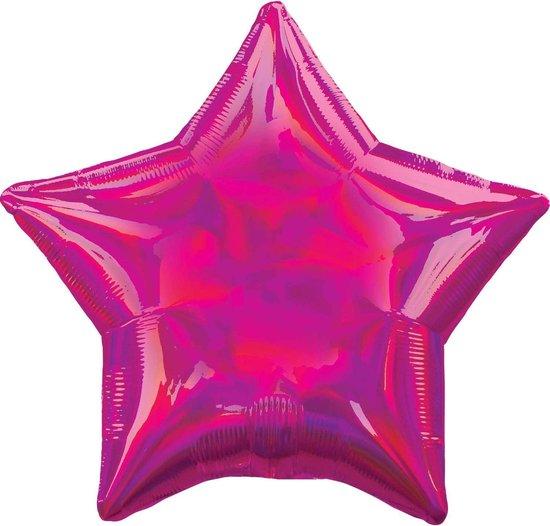 Standard Holographic Iridescent Magenta Star Foil Balloon S55 Bulk
