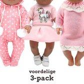 Poppenkleding meisje 3 PACK! - Baby Born kleertjes o.a. - Poppenkleertjes 43 cm - Setje 3 outfits - Gratis verzending
