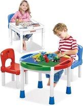 G2G - Kindertafel met 2 Stoeltjes 4 Bakjes - Tafel 2 in 1 - Blokkentafel -  Speeltafel – Tekentafel - Blokken Tafel - Geschikt voor Duplo en Lego Bouwstenen