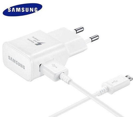 Samsung Originele 2 in 1 Snellader Oplader (EP-TA20EWE) met Micro USB kabel - geschikt voor S3, S4, S5 (Mini en Active), S6 (Edge), S7 (Edge), J1, J2, J3, J5, J7, Note, A3, A5 (2015 en 2016) - Wit