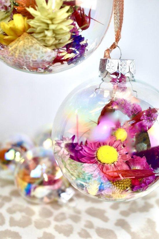 Kerstballen met droogbloemen | 9 stuks