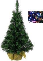 Volle mini kerstboom groen in jute zak 45 cm met gekleurde kerstverlichting - Kunstbomen/kunst kerstbomen met lampjes/lichtjes