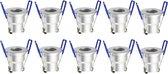 LED Inbouwspots 3 Watt - Complete Set met 10 Spots - Mini LED Downlight met Afstandsbediening Dimbaar - Verlichting 200-300 Lumen - Lamp 240V