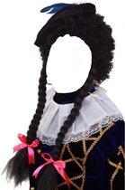 Pruik - Zwart - Piet - Krul - Met twee vlechten