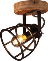 Chericoni Aperto spot - 1 lichts - zwart black steel met vintage wood