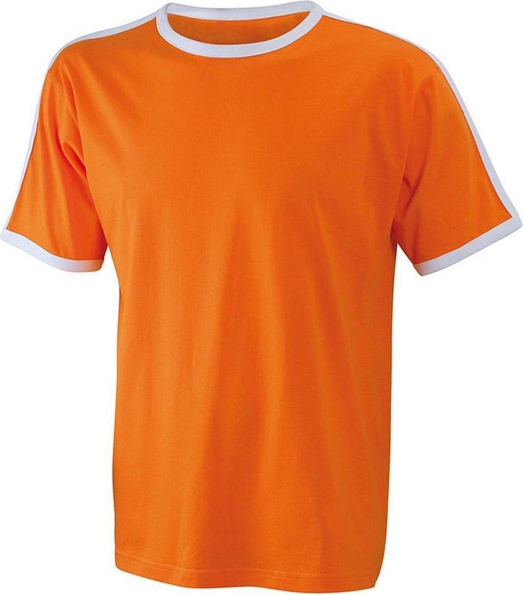 James and Nicholson - Heren T-Shirt (Oranje/Wit) Maat XXXL (3XL) - EK-WK-Olympische Spelen