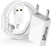 1 Pack Gecertificeerde DrPhone USB Lader Stekker Oplader + Oplaadkabel Apple iPhone 11/ X / iPhone 8 / iPhone SE /iPhone 7/ iPad Pro 10.5 / 9.7 / iPad 2017 - 2 Meter