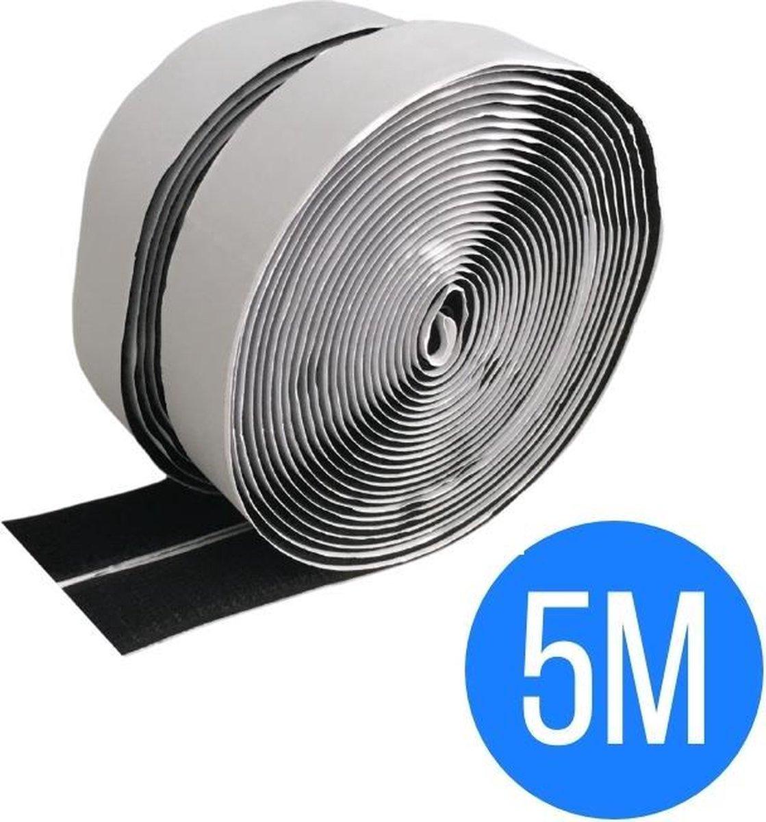 Klittenband zelfklevend zwart 5 meter - klittenband rol - zwart - ultra sterk