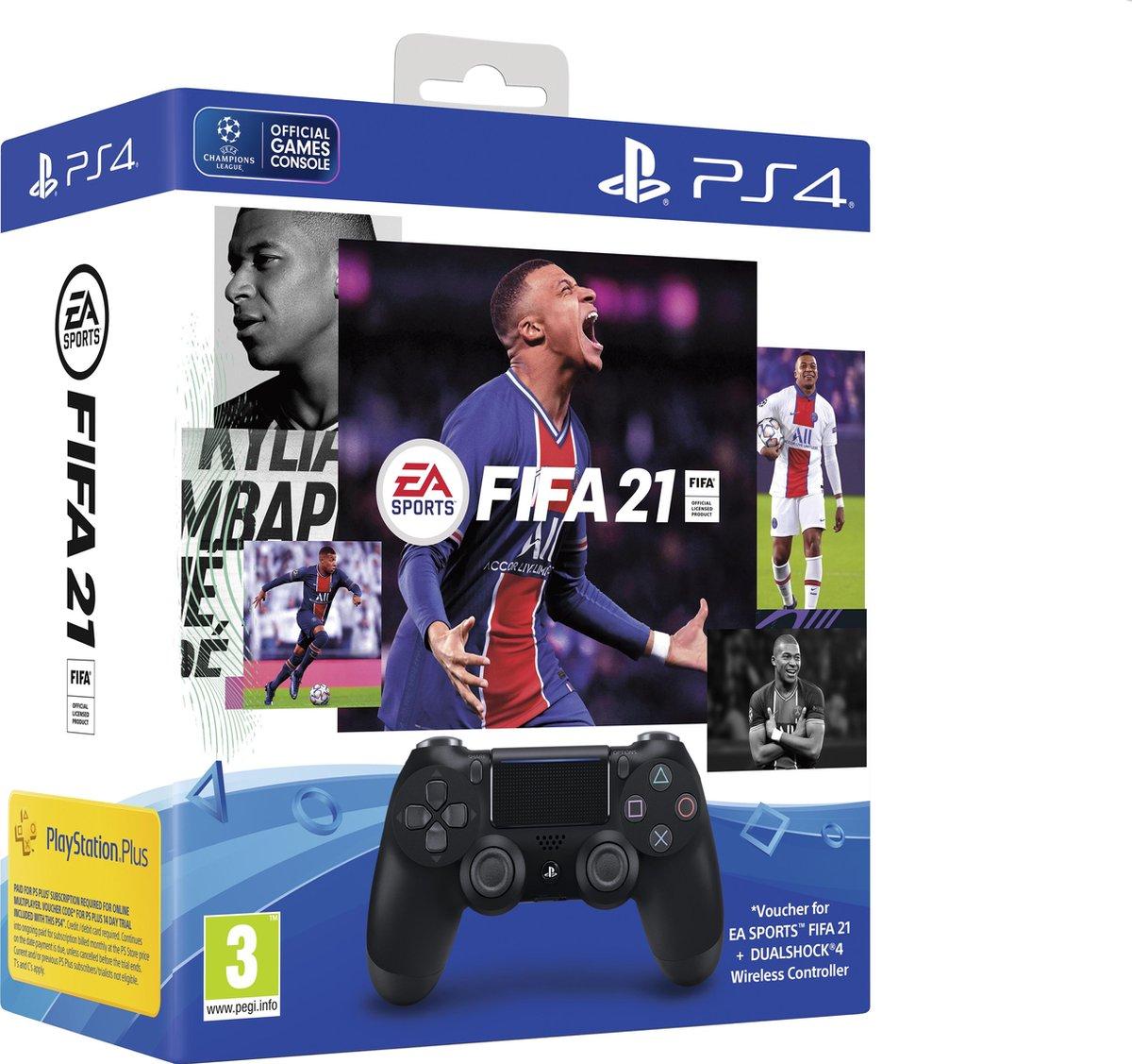Sony PS4 Wireless Dualshock 4 V2 Controller + FIFA 21 + 14 dagen PlayStation Plus