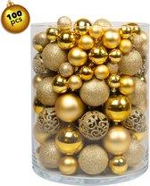 Positive Things Kerstballenmix - 100 stuks - Kunsstof - Goud